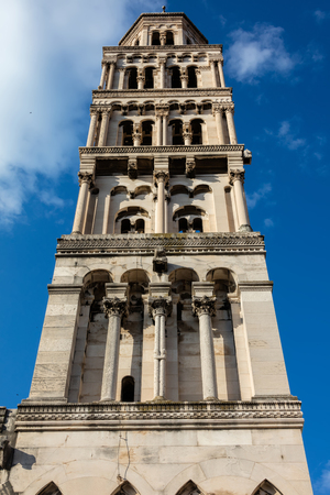 Bell Tower of the Saint Domnius Cathedral in Split, Croatia, constructed in 1100 in the Romanesque style. Stok Fotoğraf