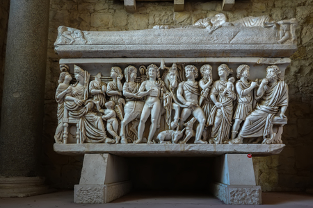4th century AD ancient Roman marble sarcophagus with a scene from the Hippolytus and Phaedra myth, found in Salona