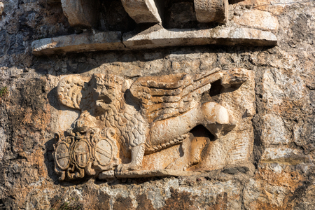 The medieval Venetian lion of St. Mark on the fortification wall of Budva, Montenegro.