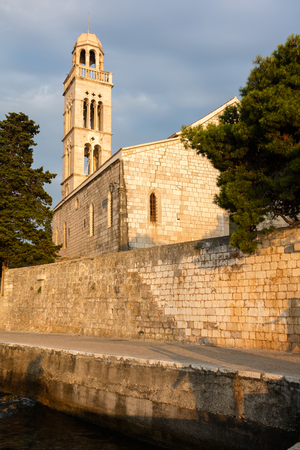 15th-century Franciscan monastery with the 16th century bell tower on the island of Hvar, Croatia.