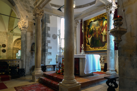 Korcula, Croatia, August 1, 2018: Altarpiece painted by Tintoretto in the Cathedral of Saint Mark in Korcula, Croatia Editöryel