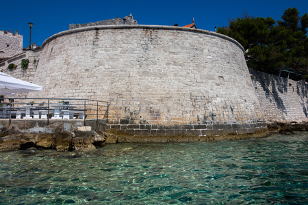 Defensive walls of Korcula, a historic fortified town on the Adriatic island of Korcula in Croatia