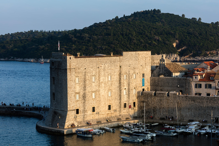 Dubrovnik, Croatia, July 31, 2018: Fort of St. John in Dubrovnik, Croatia, dates back to the 16th century, guards the entrance to Dubrovniks Old Harbor.