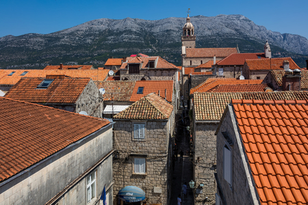 Korcula, Croatia, August 1, 2018: Korcula, a historic fortified town on the Adriatic island of Korcula in Croatia