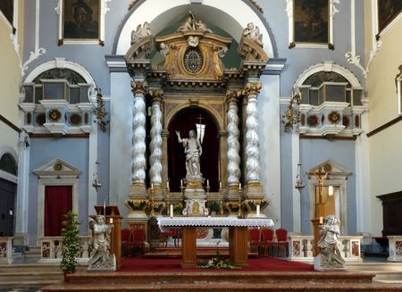 Main altar of the Franciscan Church and Monastery in Dubrovnik, Croatia with the resurrected Christ statue created by the sculptor Celia from Ancona in 1713. Editorial