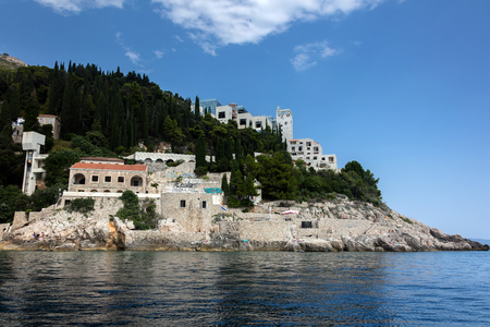 Dubrovnik, Croatia, July 31, 2018: Abandoned 5-star Hotel Belvedere, opened in 1985 as one of the most luxurious hotels on the Adriatic, destroyed in 1991 by the Serbian attack on Dubrovnik. Editorial