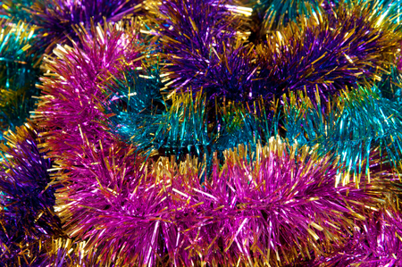 the tinsel: Colorful tinsel. Christmas background Stock Photo