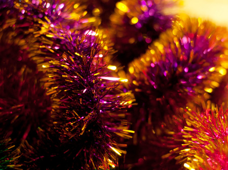 the tinsel: Colorful tinsel on blurred background