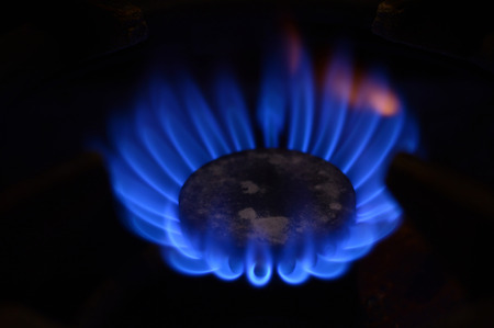 old gas stove: Burning gas on the old gas stove