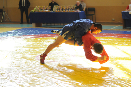 struggles: KOVROV, RUSSIA - March 14, 2015: Competitions Sambo behalf of Kovanova