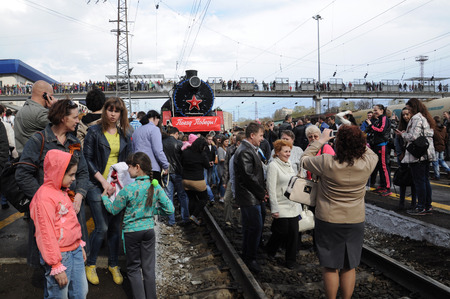 arrived: KOVROV, RUSSIA - MAY 2, 2015: Victory Train arrived at the railway station of the city of Kovrov