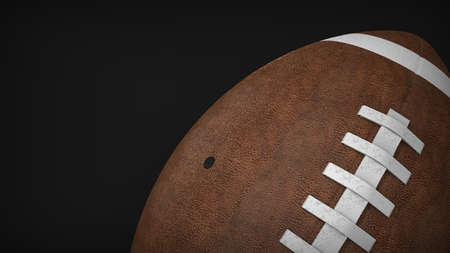 3d rendering of brown american football ball, perspective top view with black background