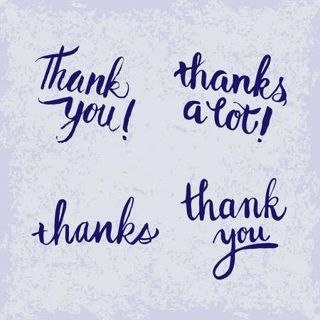 Thank You handwritten inscription with hand drawn lettering. Thank You calligraphy. Thank you card. Vector illustration. 4 variants. Vektoros illusztráció