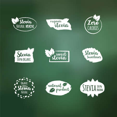 Vector set of white design elements, logo design template, icons and badges with sweetener stevia. Labels vector set.