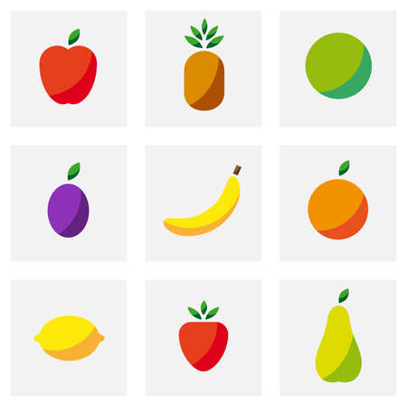 simple fruit icons 向量圖像