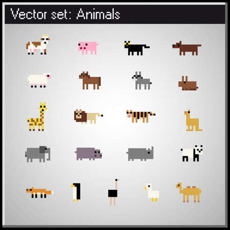 pixel animal retro icons