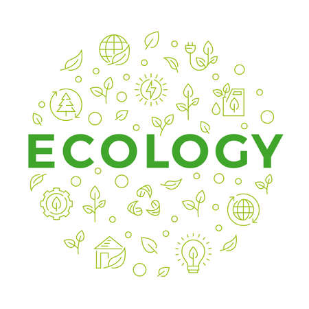 Ecology concept banner with line icons. Modern geometric design. Vector illustration.