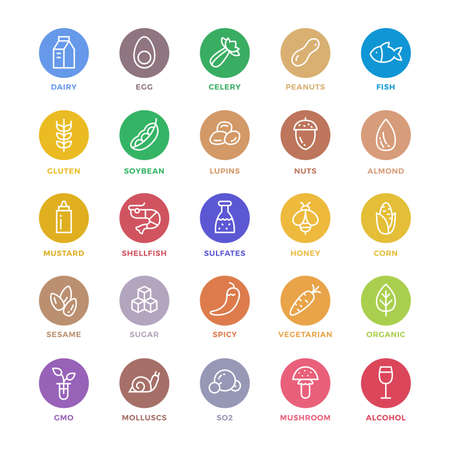 25 basic colorful allergens and diet line icons set. Isolated on white background. Vettoriali