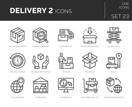 Set of vector delivery icons. Icons are in flat  line design with elements for mobile concepts and web apps. Collection of modern infographic  and pictograms.