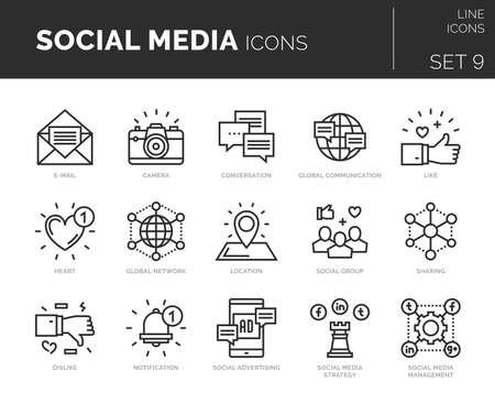 Set of vector social media icons.