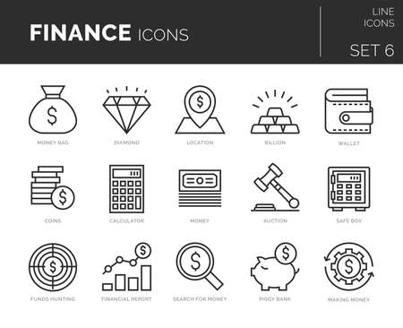 Collection of modern thin line icons set of finance elements.