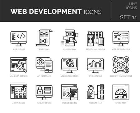 Set of vector web development icons. Icons are in flat / line design with elements for mobile concepts and web apps. Collection of modern infographic and pictograms.
