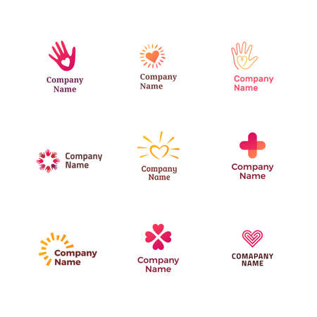 Set of different logos for charity, non-profit organizaiton, fundraising event, volunteer centre. Simple modern design.