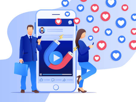 Two people with mobile smart phone with magnet attracting hearts and likes. Social media marketing concept. Simple flat design. Vector illustration. Ideal for your social media post.