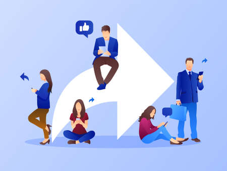 Share background with symbols and people. Social media marketing concept. Flat style design with gradient. Modern vector.