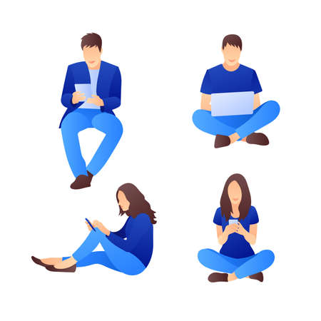 Vector set of sitting characters with smart phones and laptops. Collection of 4 people. Social media marketing concept. Flat style design with gradient. Modern vector.