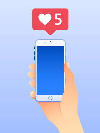 Hand holding mobile smart phone. Social media marketing concept. Vector illustration. Flat design style with gradients. Ideal for social media post. Vettoriali