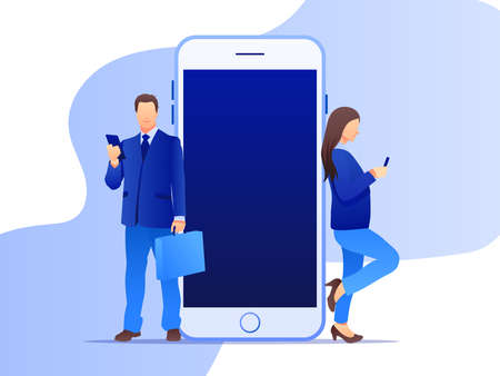 Two businessmen leaning on a giant cellphone with mobile app. Social media marketing concept. Flat style design with gradient. Modern vector.