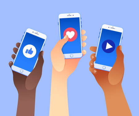 Three hands holding mobile smart phones with like, love a play buttons. Different nationalities. Social media marketing concept. Vector illustration. Flat design style. Ideal for social media post. Vettoriali