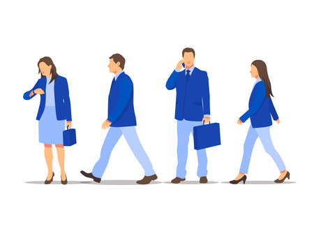 Vector set of walking and standing business characters. International business team. Simple flat design in blue colors.