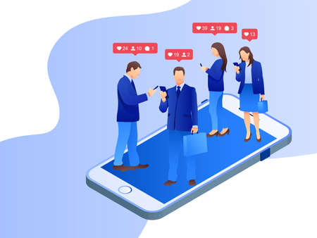 Social media group. Business people interacting on social media. Women using different social platforms. Online communication and connection. Modern flat style. Vector illustration.