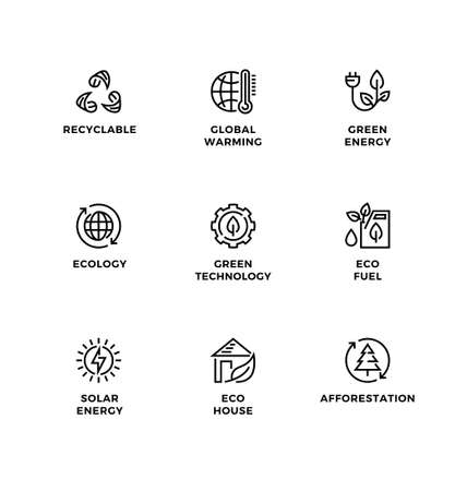 Vector set of design elements, logo design template, icons and badges for ecology, green technology, organic, healthy lifestyle, alternative energy. Line icon set, editable stroke. Ilustrace