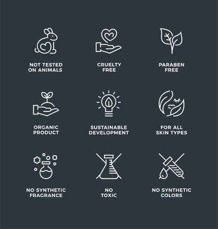 Vector set of design elements, logo design, template icons and badges for natural and organic cosmetic. Cruelty free, not tested on animals, paraben free, gluten free. Line icon set, editable stroke.
