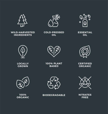 Vector set of design elements, logo design template, icons and badges for natural and organic cosmetic with eco based ingredients. Line icon set, editable stroke. 向量圖像