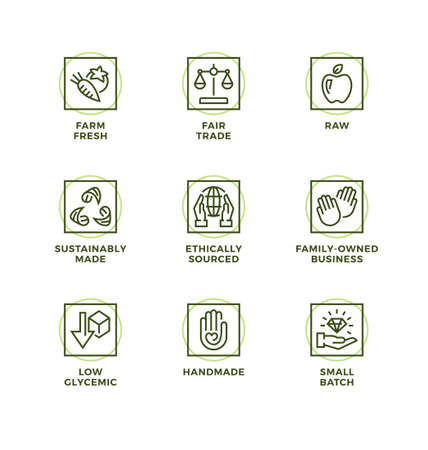 Vector set of design elements, logo design template, icons and badges for natural and organic cosmetic and product. Handmade, Fair trade, Raw, Ethically sourced. Line icon set, editable stroke.