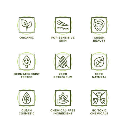 Vector set of design elements, logo design template, icons and badges for natural and organic cosmetic. Line icon set, editable stroke. Logo