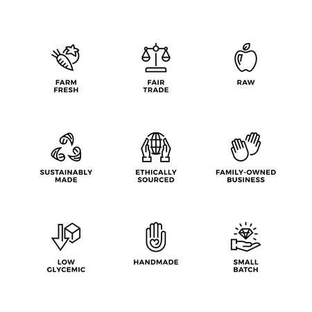 Vector set of icons for natural and organic cosmetic and product.