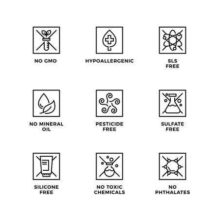 Vector set of design elements, logo design template, icons and badges for natural and organic cosmetic. SLS free, sulfate free, silicone free, no mineral oil. Line icon set, editable stroke.