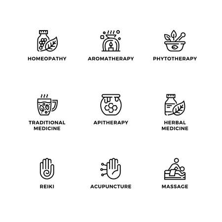 Vector set of design elements,   design template, icons and badges for alternative medicine. Line icon set, editable stroke. Ilustração
