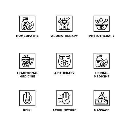Vector set of design elements,  design template, icons and badges for alternative medicine. Line icon set, editable stroke.
