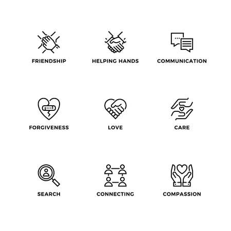 Vector set of design elements, design template, icons and badges for friendship. Line icon set, editable stroke.