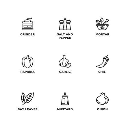 Vector set of design elements,  design template, icons and badges for herbs and spices. Line icon set, editable stroke.