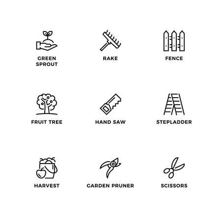 Vector set of design elements,  design template, icons and badges for garden. Line icon set, editable stroke. Ilustração