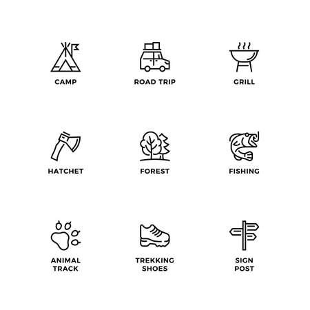 Vector set of design elements, design template, icons and badges for camping. Line icon set, editable stroke. Ilustração Vetorial