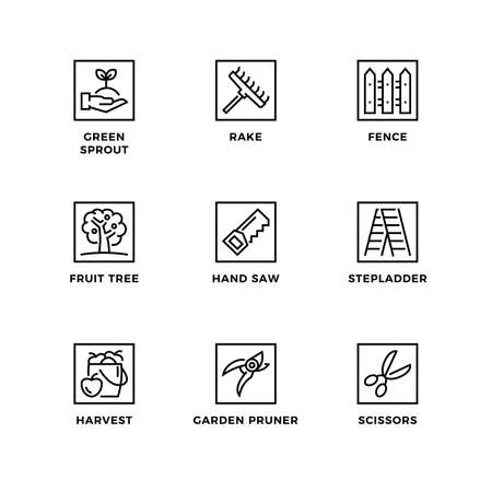 Vector set of design elements,   design template, icons and badges for garden. Line icon set, editable stroke.