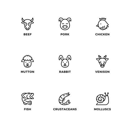 Vector set of design elements, logo design template, icons and badges for kinds of meat and food. Line icon set, editable stroke.